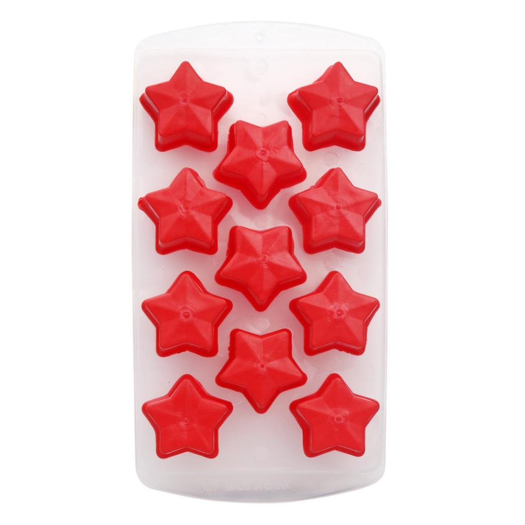 Vacally Easy-Release Silicone and Flexible Ice Cube Jelly Chocolate Fruit Cake DIY Mould Mold Tray Pudding fun shapes Multiple Colour Star/Flower/Heart/Orange/Apple shape (N)