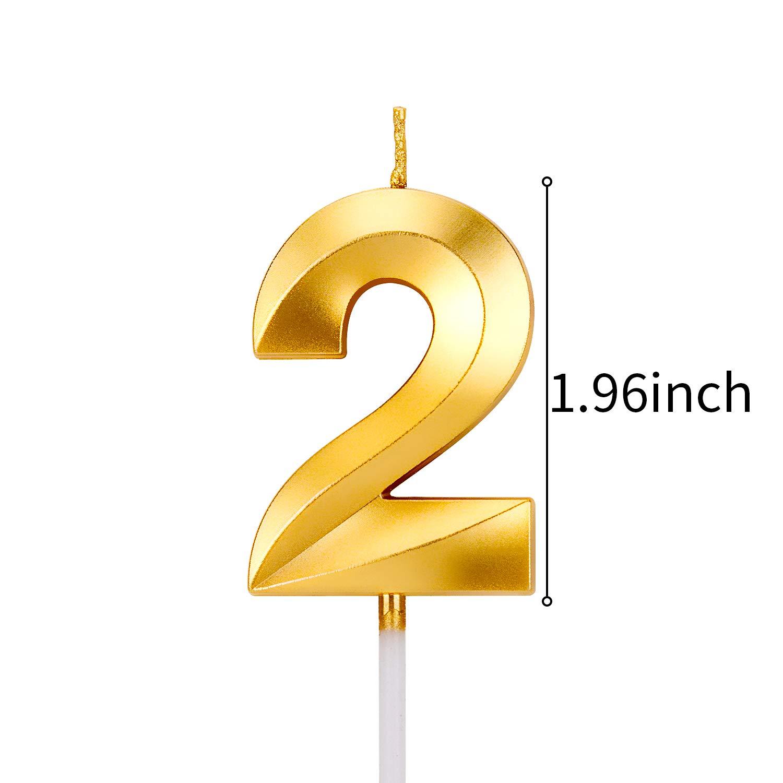 Numero 3 LUTER Glitter Oro Buon Compleanno Candele di Torta con Design Pieghevole Numero di Candele Candela di Compleanno Cake Topper Decorazione per Adulti per Bambini