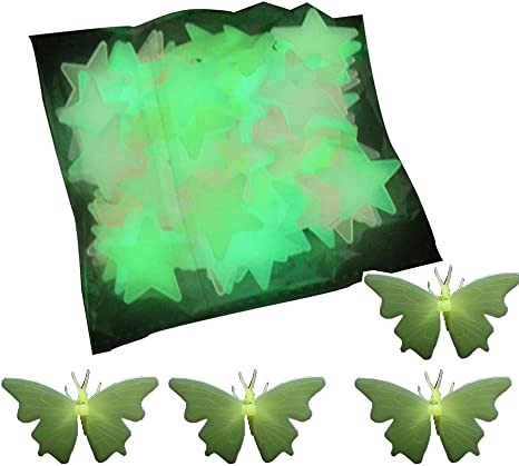 100pcs Star Glow In The Dark Luminous Wall Sticker Decal Kids Baby Bedroom Decor