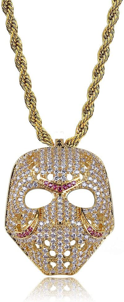 MoCa Hip Hop Iced Out Bling CZ Diamond Retro Mask Pendant Chain Individual Necklace