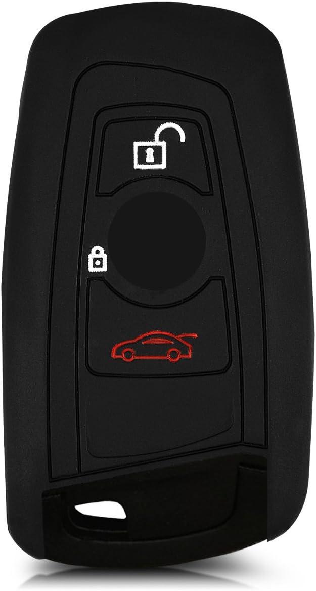 - Carcasa protectora suave de silicona kwmobile Funda de silicona para llave con control remoto de 3 botones para coche BMW Case mando de auto rojo solamente Keyless Go