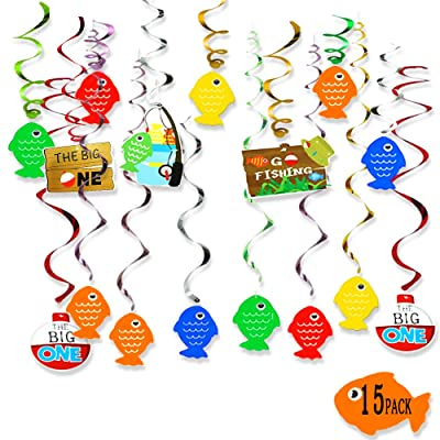 Fish Hanging Swirl Party Decorations First Birthday Decor The Big One Gone Fishing Ceiling Hanging Swirl for Baby Shower Kids birthday Party Supplies: Toys & Games