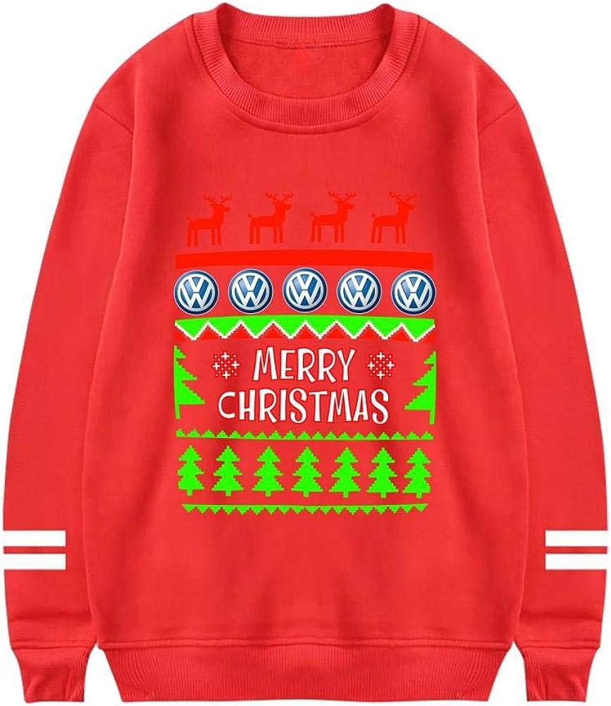 SwcyFun Mens Crewneck Sweatshirt Christmas Volk-swagen Long Sleeve Warm Cotton Hoodie