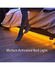 Samoleus Auto Strisce LED Sensore Movimento Blanco Cálido, 1.2M 36 LEDS Sensore di Movimento Striscia LED Letto Luce Notturna, Tempo Regolabile, Luminosità e Lunghezza (2 Striscia LED)