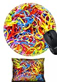 MSD Mouse Wrist Rest and Round Mousepad Set, 2pc Wrist Support design 21803447 Colourful rubber bands
