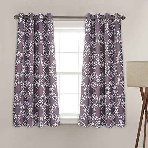 MYSKY HOME Purple Curtains for Girls Room by Moroccan Floral Printed Thermal Insulated Grommet Top Blackout Curtains for Bedroom, 52