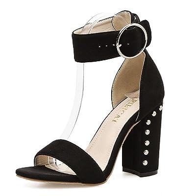 L-XIE Femmes Sexy Chunky Talon Des sandales Chaussures Suède Cheville Sangle Rivet Piaulement Doigt de pied Noir marron Travail Fête Robe Boîte de nuit, EUR 36/UK 3.5-4