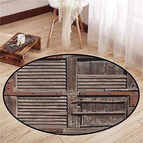 (Indoor/Outdoor Round Rugs,Rustic,Vintage Wooden Italian Countryside Cottage Door Row Structured Region Style Picture,Children Bedroom Rugs,2'11