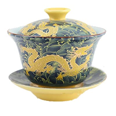 Moyishi Chinese Porcelain Gaiwan Dark Blue Dragon Tradition Sancai Tea Cup Tea Set Best Gift
