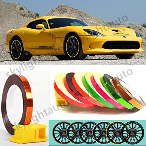 Pink Stripe Wheel Reflective Tape Decorative Car and Motrocycle Rim Sticker With Tool (Pink Reflective Tape)