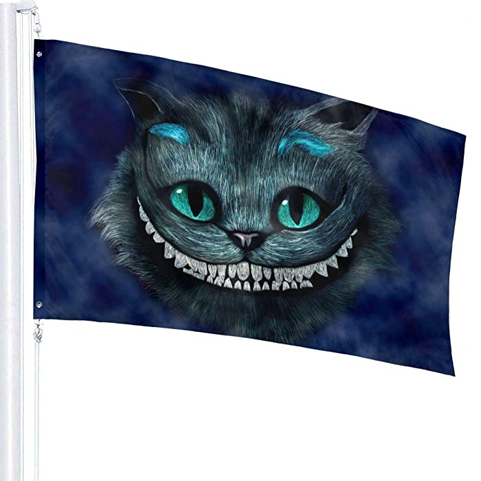 Olicsley Alice in Wonderland Smiling Cheshire Cat Flag 3x5 Ft,Decorative Outdoors Anti UV Fading Indoors Flags Seasonal and Holiday Yard Flag Banner Polyester 3x5 Foot