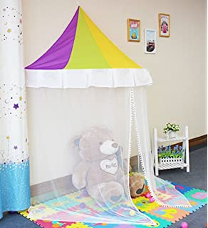kids bed canopy indoor princess rainbow play tent with 23ft led star string lights