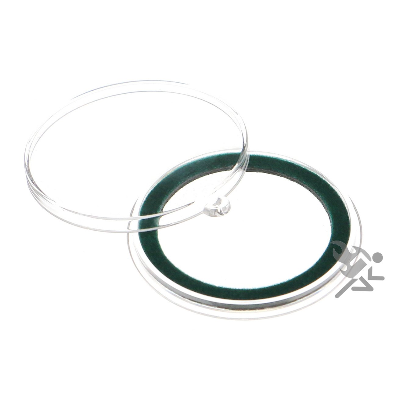 (25) Air-tite 39mm Green Velour Colored Ring Coin Holder Capsules with Loop Holders for 1oz Silver & Copper Rounds Casino Chips Air-Tite Holders