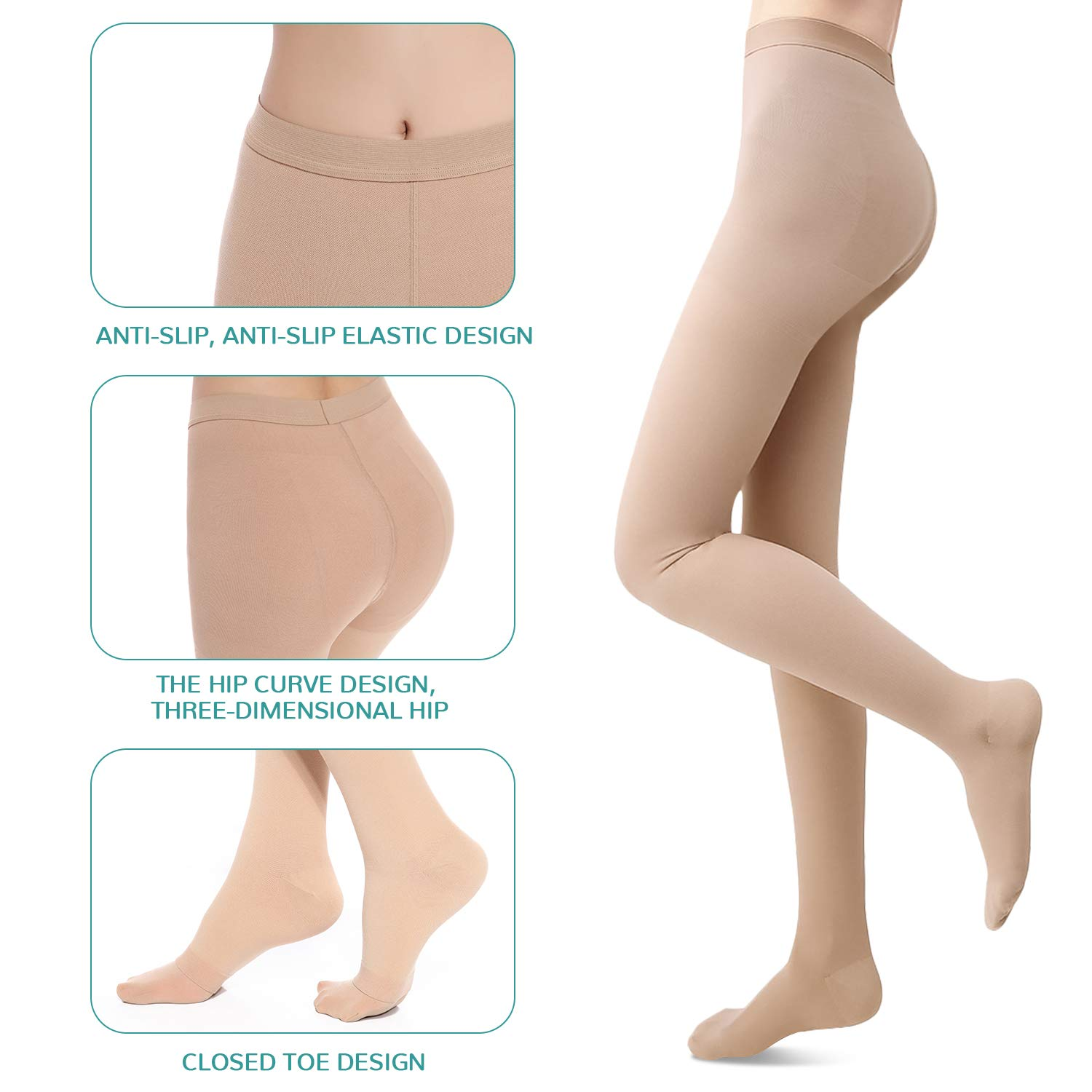 Medical Grade Compression Pantyhose (Close Toe) Women Men- Opaque Compression Stockings Pantyhose Support Patyhose Firm Graduated Support 20-30mmHg Helps Relieve Symptoms of Mild Varicose Veins by SKYFOXE (Image #4)