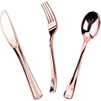 120 Pieces Rose Gold Plastic Silverware Set - Heavyweight Disposable Cutlery Set- Rose Gold Look Cutlery - Includes 40 Forks,40 Knives,40 Spoons for Wedding,Party,Picnic- MAKARA 60 Gold 00 120