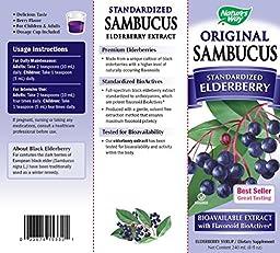 Nature\'s Way Sambucus Black Elderberry Original  Syrup, 8 Ounce