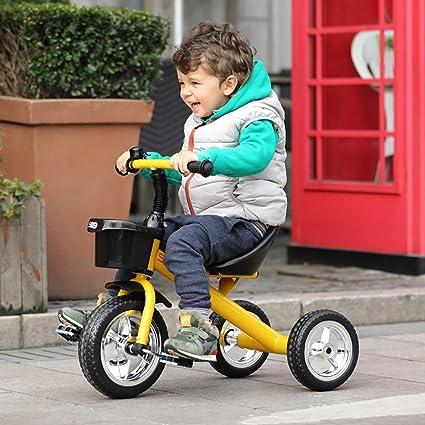 Triciclos Bebes 1 Año Ultraligero Bicicleta de Tres Ruedas Niños Acero de Alto Carbono +18 Meses Pedales Triciclo, Yellow: Amazon.es: Deportes y aire libre