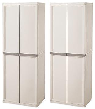 High Quality Sterilite 4 Shelf Storage Shelving Unit, Light Platinum (2 Pack)