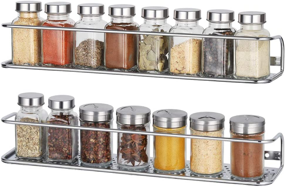 NEX Spice Racks Wall Mounted Spice Storage Organizer, Chrome - 2 Pack