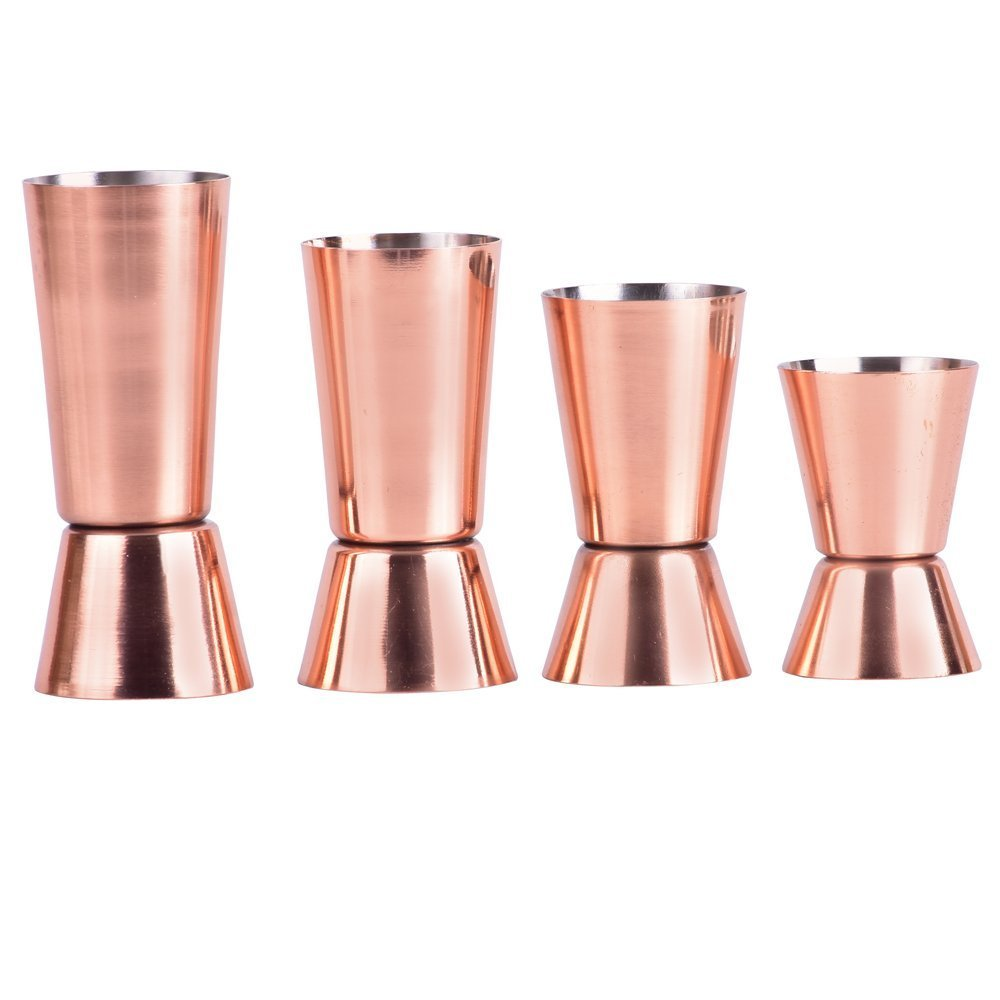 Kosma set of 4 Stainless Steel Jigger Copper Plated | Peg Measure | Dual Measure Spirit measuring cup- Set includes: 15 x 30ml, 20x40ml, 25x50ml, 30x60ml