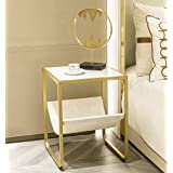 HAWOO Gold Nightstand, Marble Side Table, Accent Living Room Sofa Square End Table with Metal Frame, Small Table for…