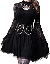 d3dca85b72 Dark in Love Black Elegant Gothic Lace Trumpet Sleeve Knitted Short Spring  Casual Pinup Dress