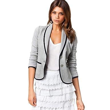 BaZhaHei-Chaqueta de Mujer, Mujeres Business Coat Blazer Suit Tops de Manga Larga Slim Jacket Blusa Talla S-6XL del Chaqueta pequeña de Manga Corta ...