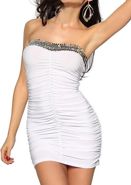 Yourdesignerz Elegantes Mini Kleid Bandeaukleid Mit Pailletten In Weiss Xs Amazon De Bekleidung