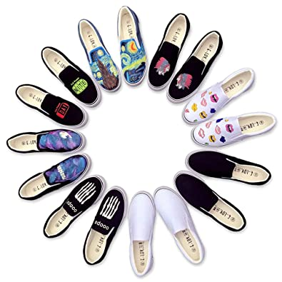 Women Men Black Canvas Shoes Printed Indian Tribe Casual Loafers Slip-on  Indiana Design Flat 513ee027d6d