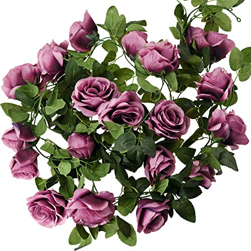 FiveSeasonStuff 29 Ft 4 Pack Rose Silk Flower Garland Artificial Flowers Decoration Hanging Floral Décor for Wedding Baby Shower Birthday Party Garden (Velvet Purple)