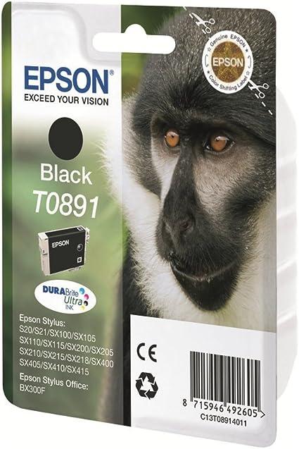 Epson Original T0891 Affe Wisch Und Wasserfeste Tinte Singlepack Schwarz Bürobedarf Schreibwaren