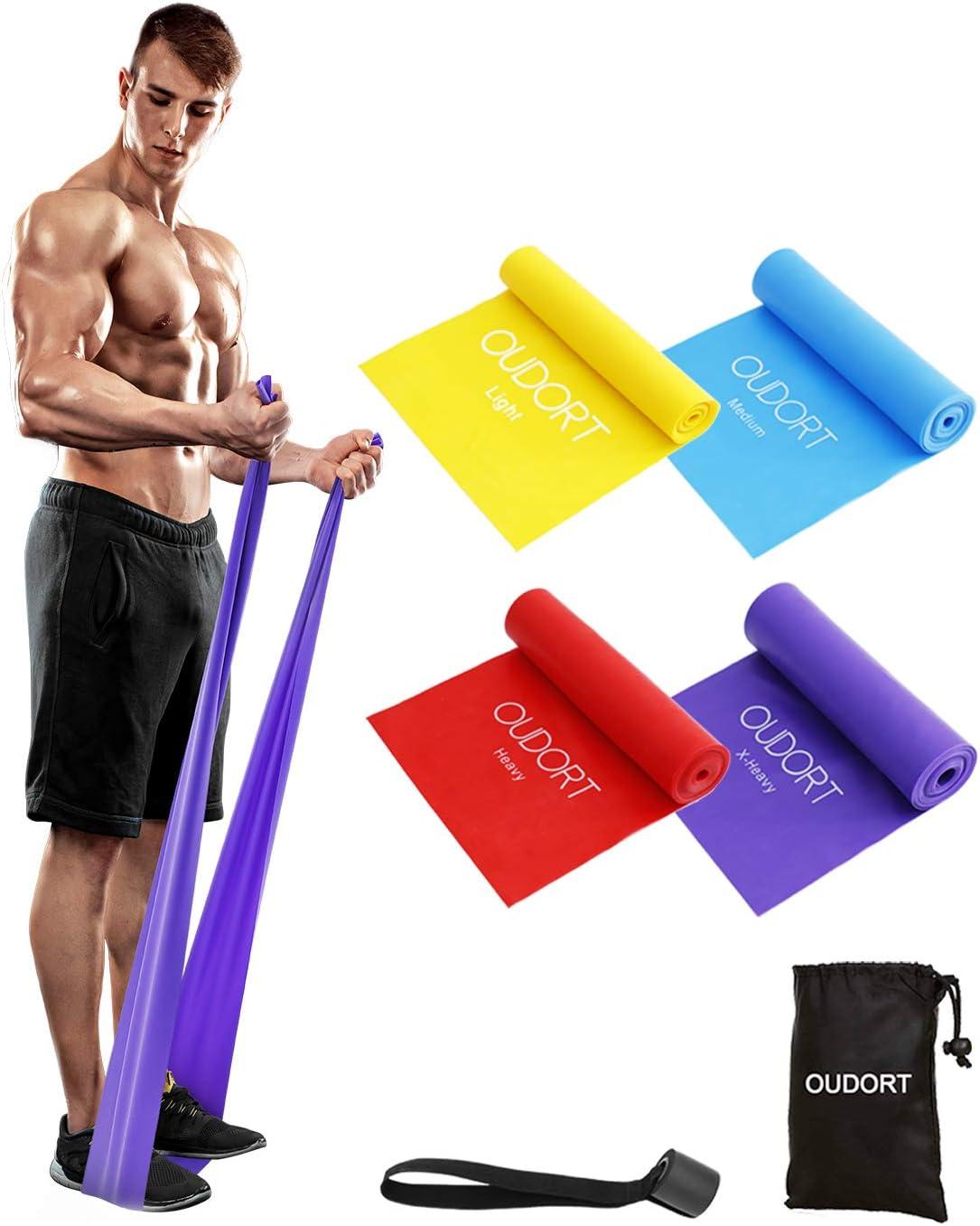 Oudort Cintas Elásticas Musculación, 4 Gomas Elásticas Fitness sin Látex con Anclaje Puerta para Yoga, Pilates, Estiramientos, Rehabilitación, ...