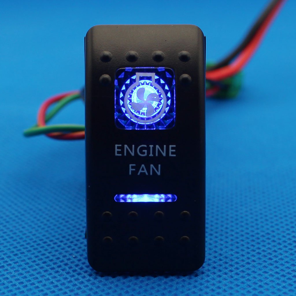 Goodqbuy 5 Pin 12v 24v On Off Rocker Switch With Blue Led Backlit Carling 12 Volt Boat Toggle Marine Switches Arb Narva Style Engine Fan Rs En B Sports Outdoors