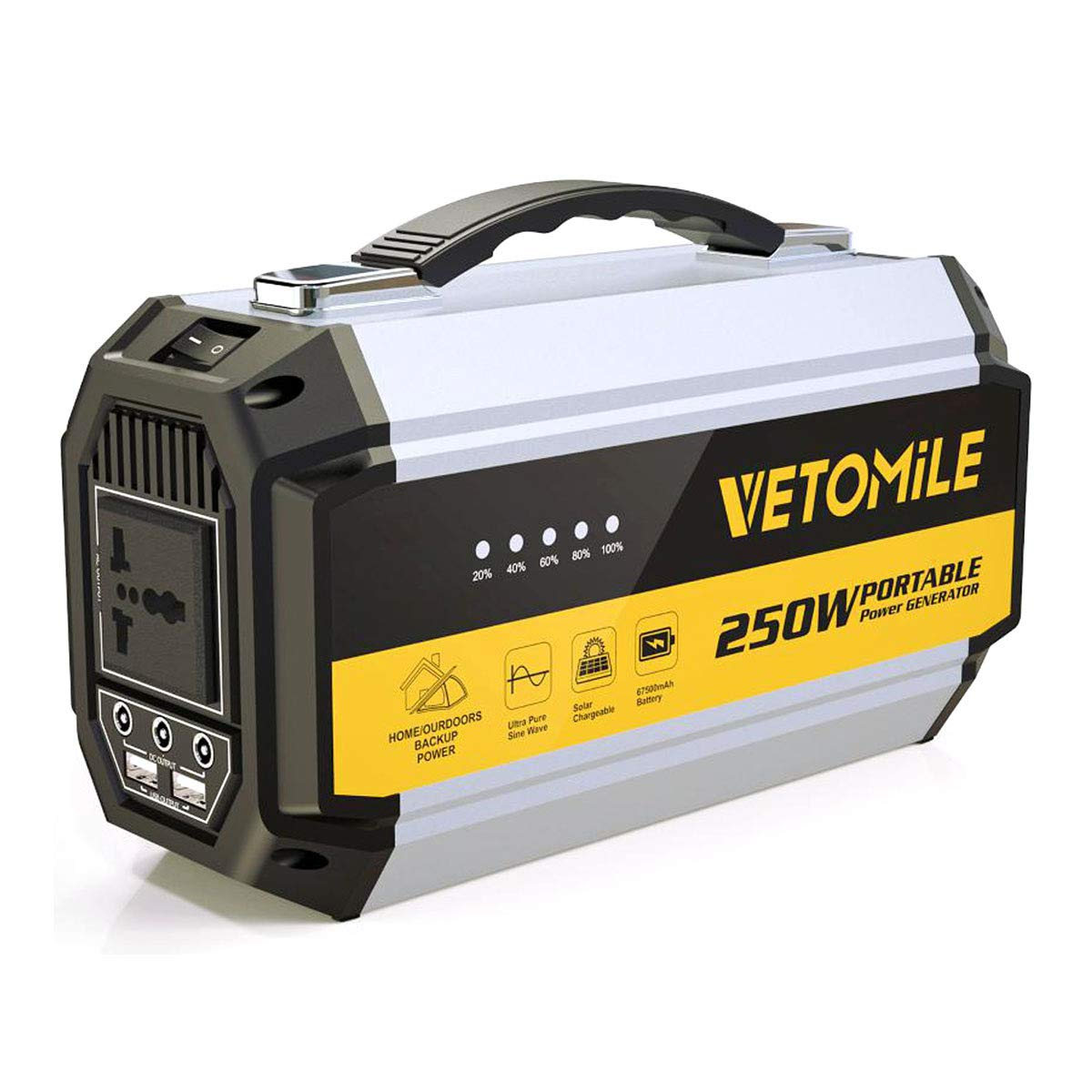 VETOMILE 250Wh Portable Power Station Camping Generator with Pure Sine Wave 110V AC Outlet, 2 USB Ports, 3 DC Ports 67500mAh Lithium Battery Power Supply Pack for CPAP Emergency Outdoor Backup