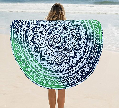 New Launched Round mandala tapestry,Circle Beach Tapestry Towel Wall hanging Boho Gypsy Cotton Tablecloth Beach Towel , Round Yoga Mat towel 48'' inches new !! (Round 48