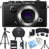 Olympus PEN-F 20MP Mirrorless Micro Four Thirds Digital Camera (Black) Accessory Bundle includes Camera, 64GB SDXC Memory Card, Case, Tripod, Wrist Strap, Cleaning Kit, Beach Camera Cloth and More