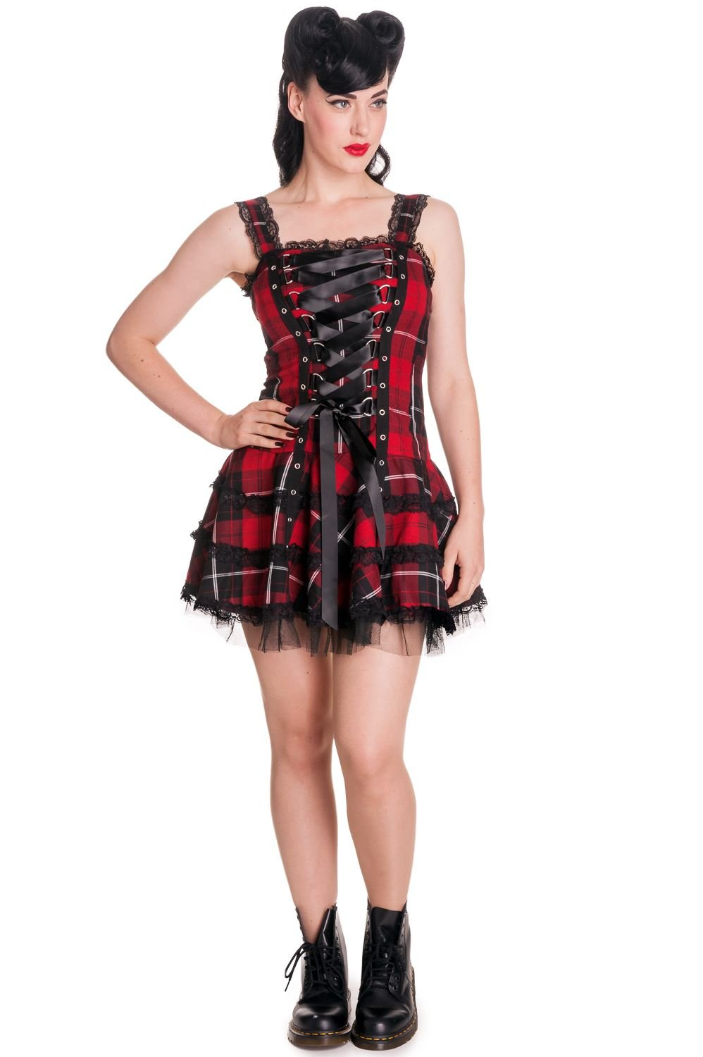 Hell Bunny dell'abito HARLEY DRESS Red/Tartan
