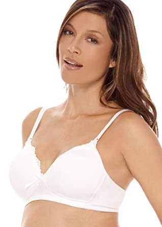 Lamaze Lightly Padded Nursing Bra with Lace Trim - White, 42D at ...