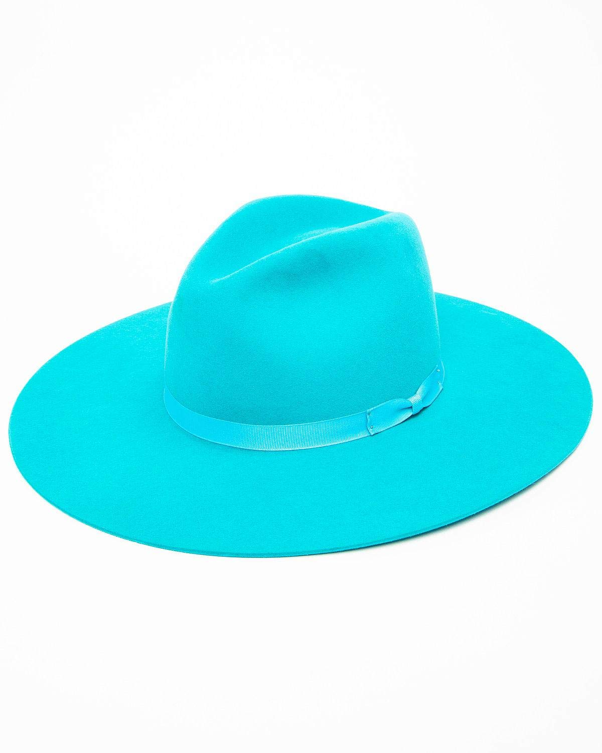 RODEO KING Women's Turquoise 7X Tracker Pinch Front Fur Felt Hat Turquoise 7 3/8