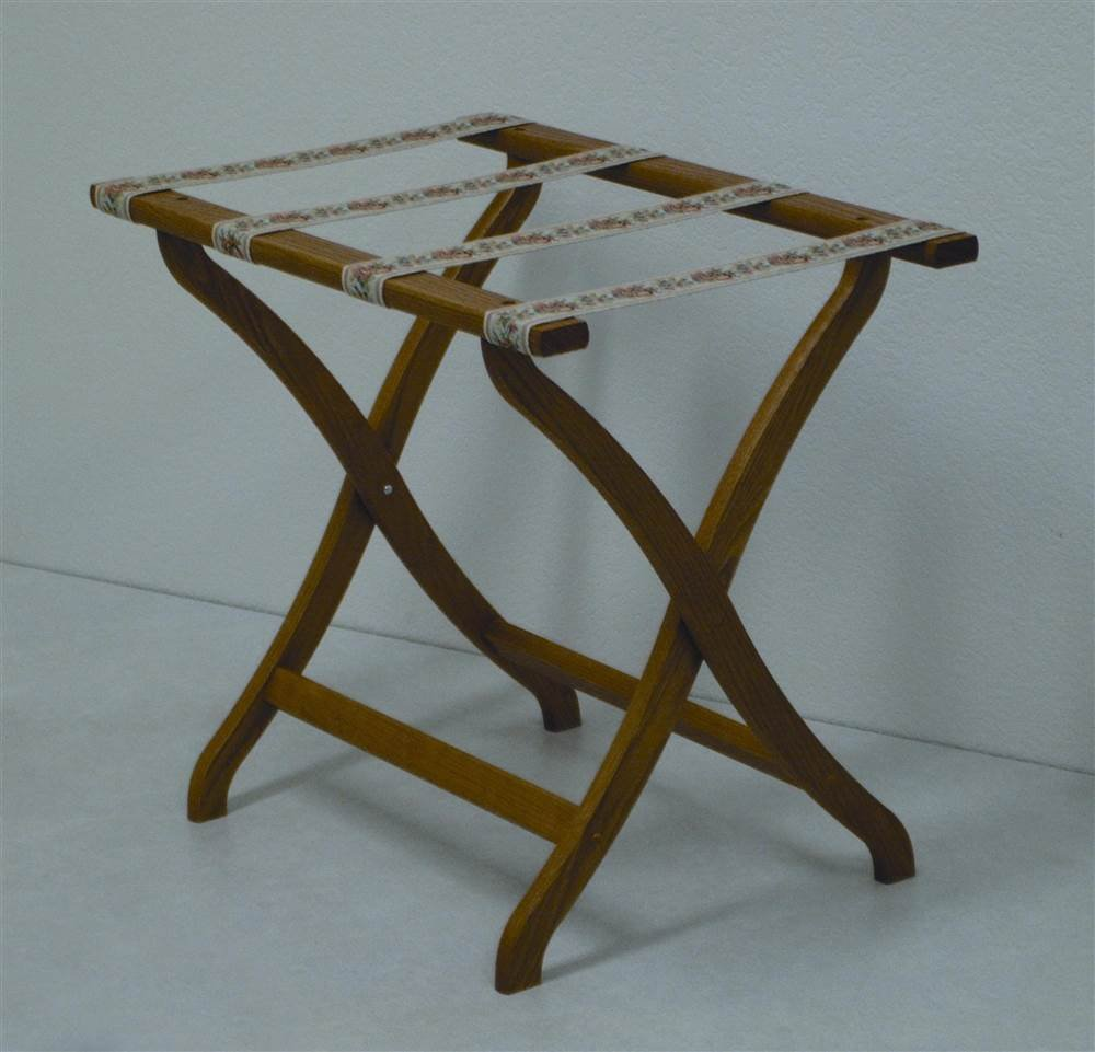 Deluxe Contour Leg Luggage Rack Wood Finish: Medium Oak, Fabric: Tapestry