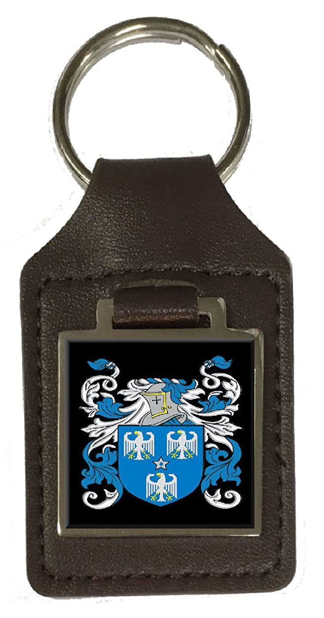Chaffin Family Crest Surname Coat Of Arms Brown Leather Keyring Engraved
