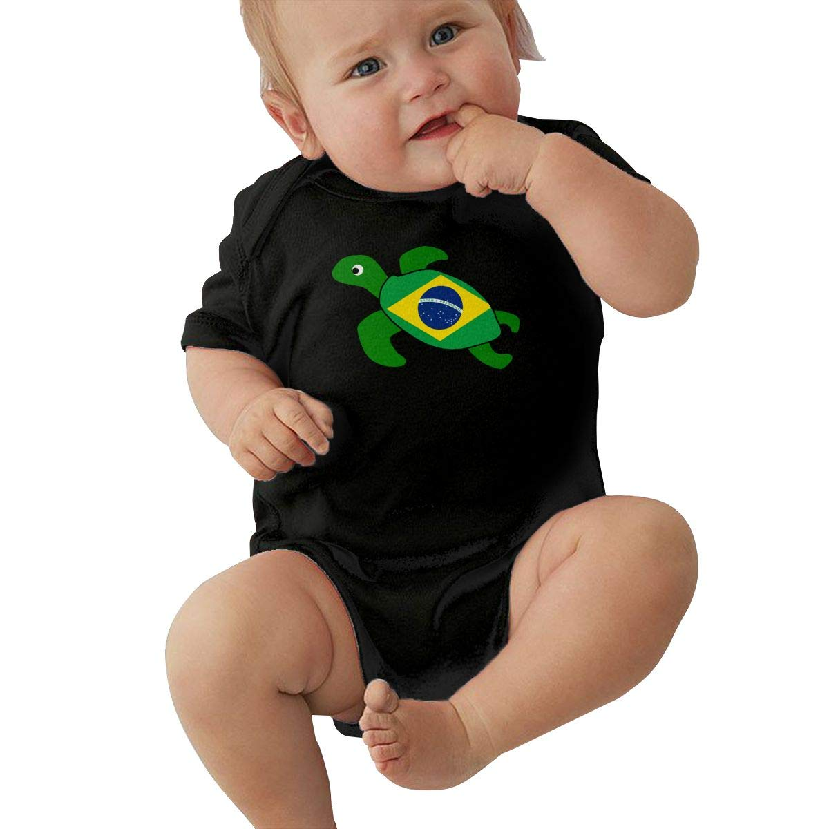 Baby Girls Sea Turtle Brazil Flag Short Sleeve Climbing Clothes Bodysuits Suit 6-24 Months