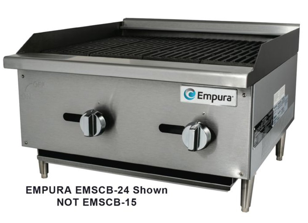 Empura EMSCB-15 Medium Duty Stainless Steel 16'' Countertop Charbroiler Gas with 1 Manual Controls Burner, 28,000 BTU
