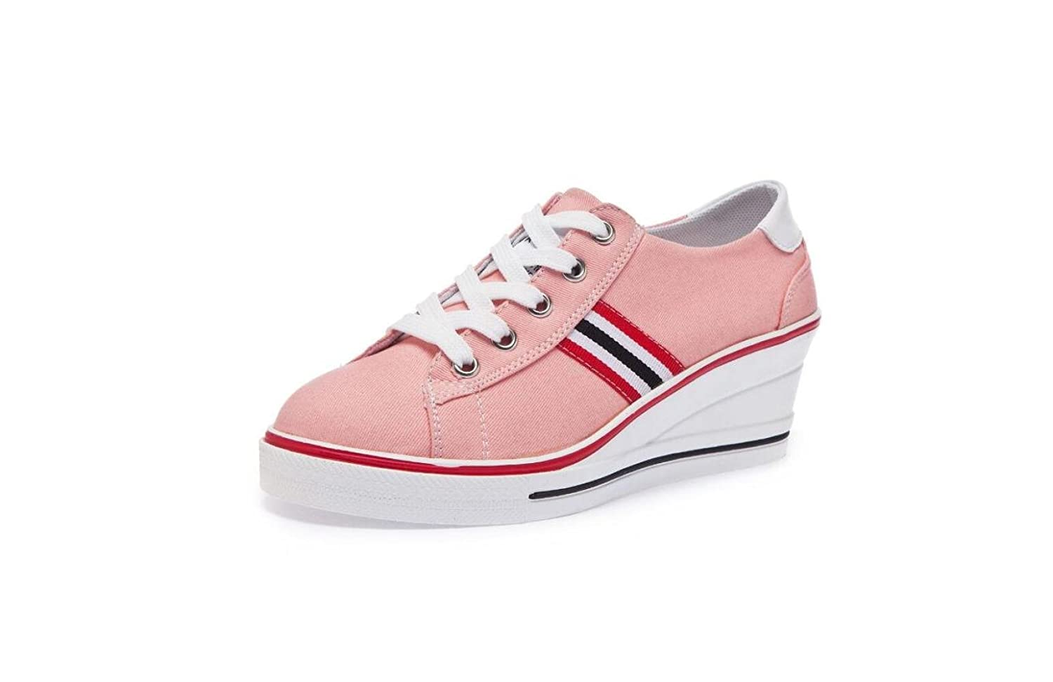 Femmes Fond Lace Talon épais Plate-Forme Chaussures Bas-Haut Wedge up Talon Toile Chaussures Baskets Casual Lace up Chaussures Pink 33ec7e7 - reprogrammed.space