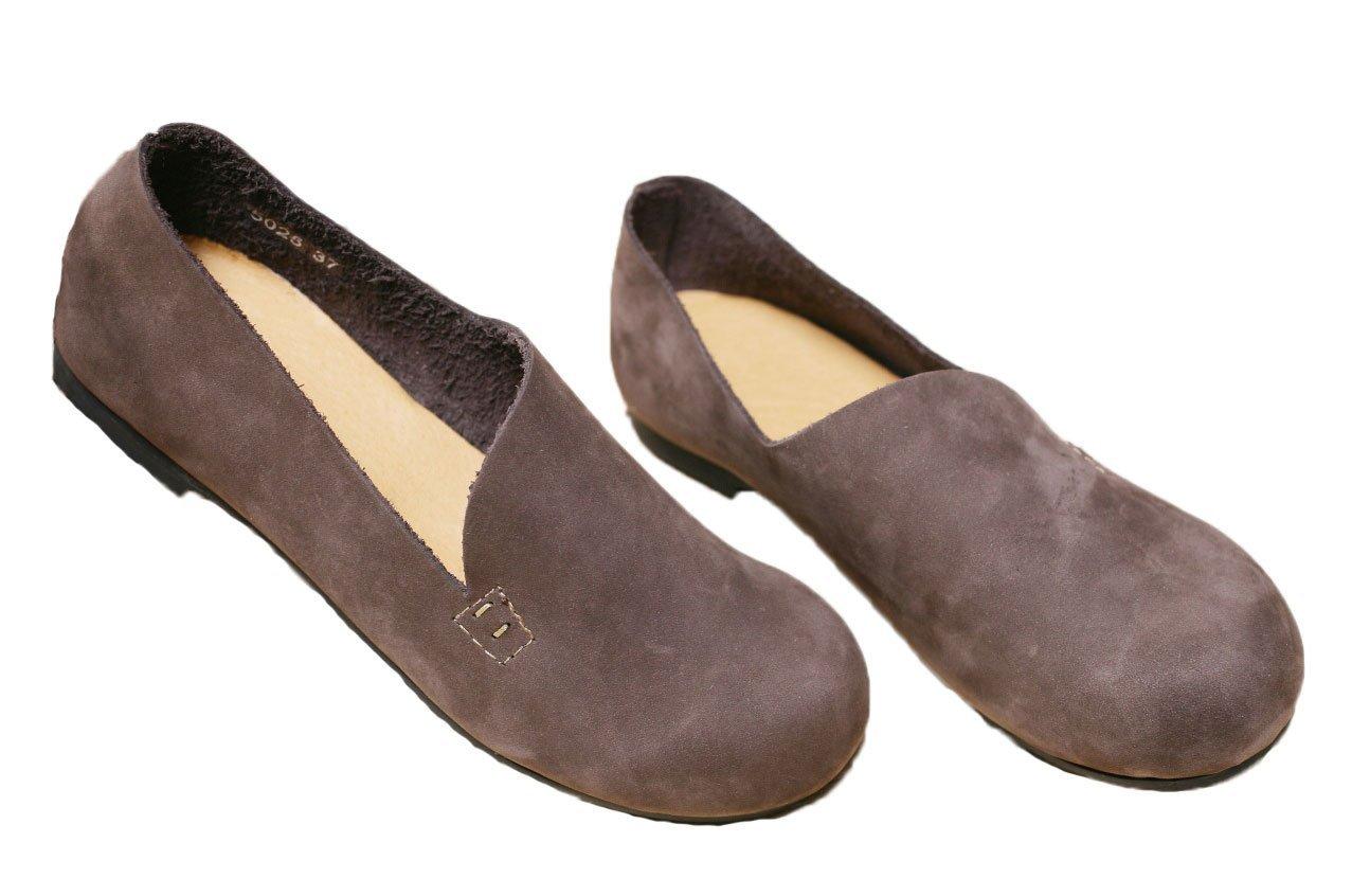Soojun Womens Plain Nubuck Slip-On Shoe Folk Flat B01FVXX8QI US 7.5/CN 39|Coffee