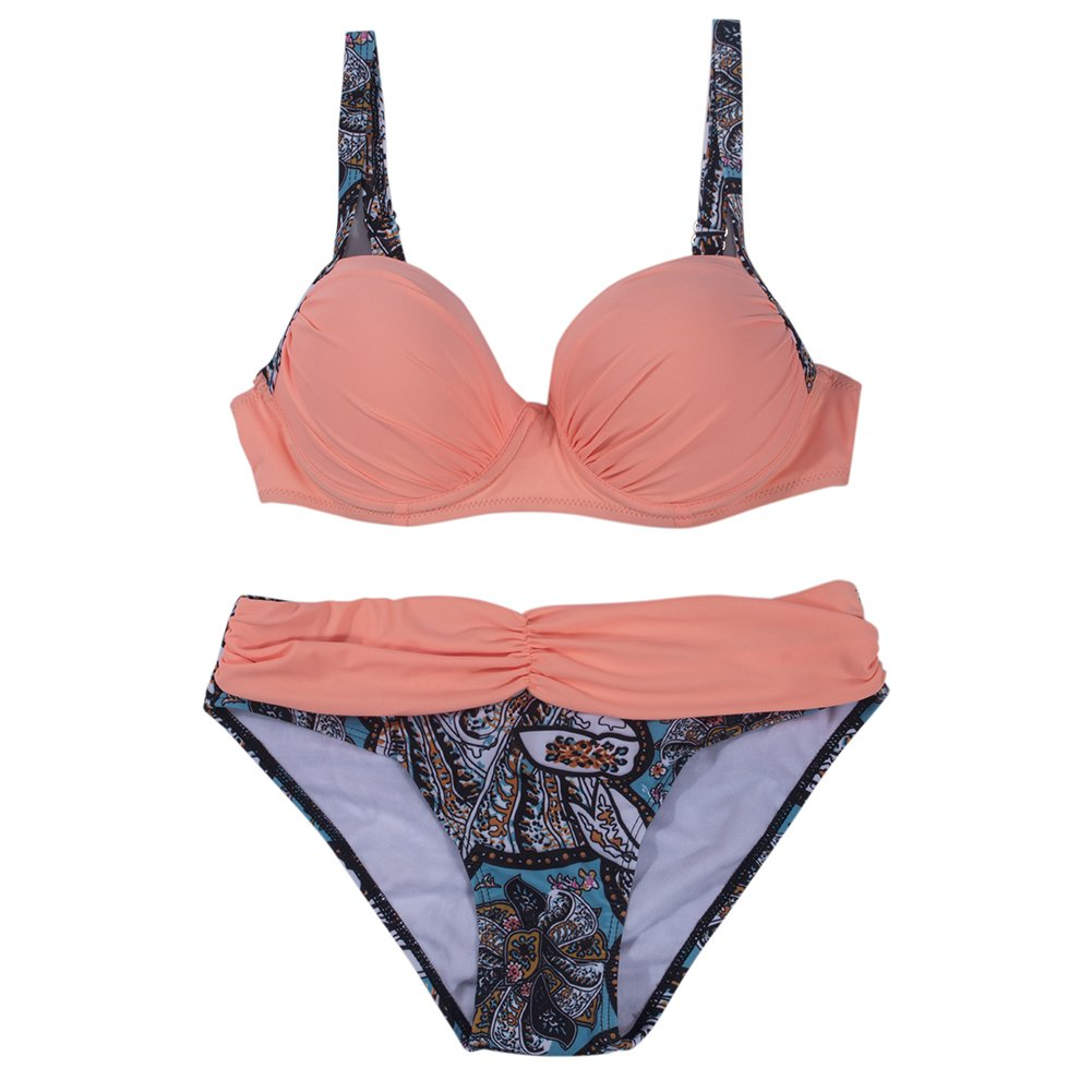 d2133ee9db33b Amazon.com: SAYFUT Push Up Two Piece Bikini Swimsuit Candy Patch Padded  Swimwear: Clothing