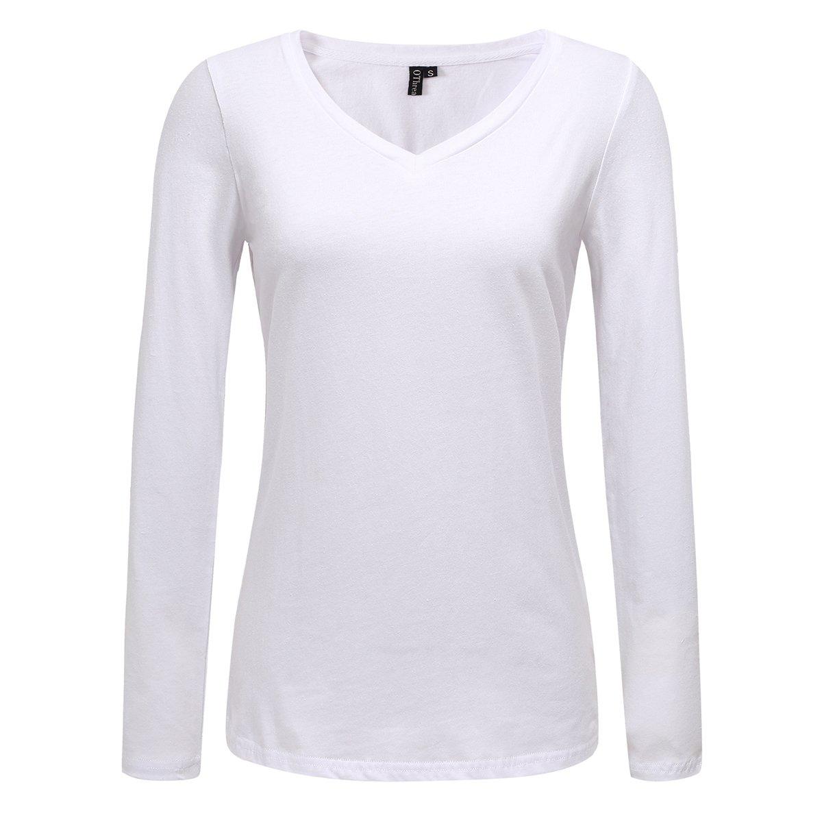 OThread & Co. Women's Long Sleeve T-Shirt 100% Cotton Basic Casual V-Neck Tee (Small, White)