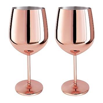 Magicpro - Juego de 2 copas de vino de acero inoxidable (oro rosa)