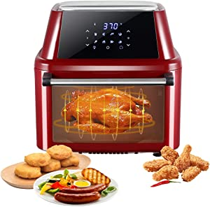 16.9 Quart Large Air Fryers,Air Fryer Oven Airfryer Toaster Oven Combo,Convection Toaster Oven with Rotisserie Dehydrator,1800W (Claret-Red A1)