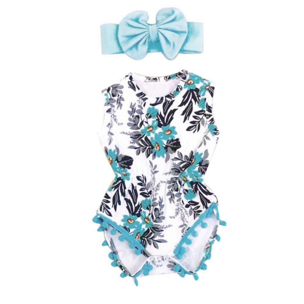 Babykleidung Honestyi Neugeborenes Kleinkind Kind Baby Mädchen Print Spielanzug Jumpsuit Sunsuit + Stirnband Kleidung Set (Blau, 80) Honestyi9528